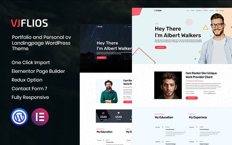Vjflios - Portfolios and Personal CV Landingpage WordPress Theme - screenshot